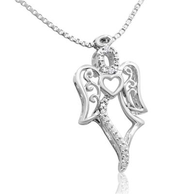 Diamond Accent Angel Necklace
