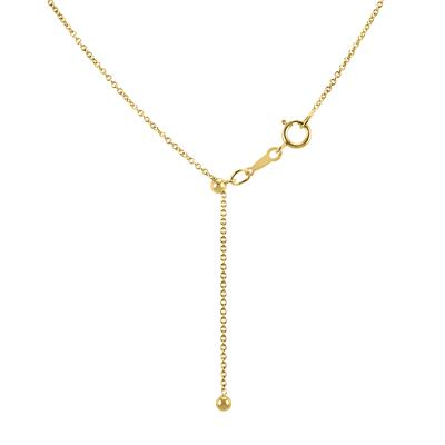 14k Yellow Gold Filled Adjustable 1.1mm Bolo Cable Chain Necklace