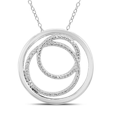 Diamond Circle Pendant in .925 Sterling Silver