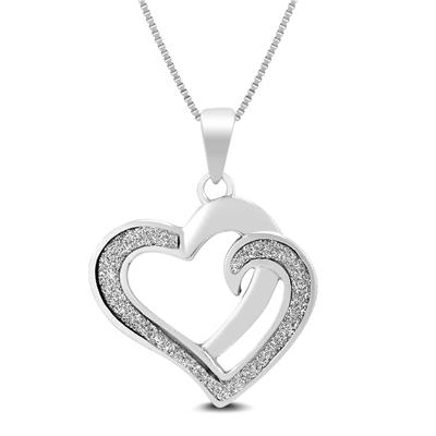 Sparkle Dust Heart Pendant in .925 Sterling Silver