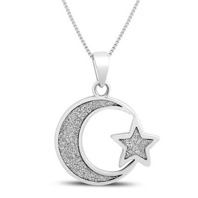 Moon and Star Sparkle Dust Pendant in .925 Sterling Silver