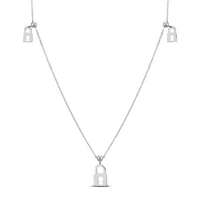 Lock Charm Necklace in .925 Sterling Silver