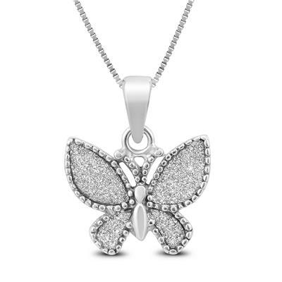 Sparkle Dust Butterfly Pendant in .925 Sterling Silver