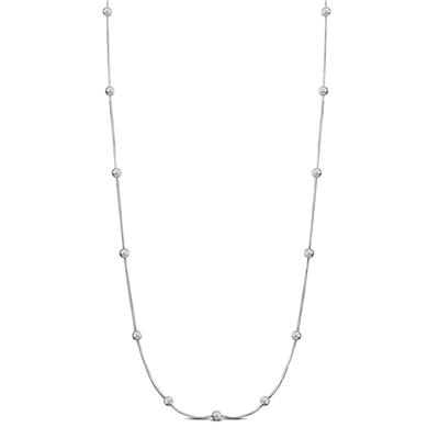 Long Silver Ball Necklace in .925 Sterling Silver