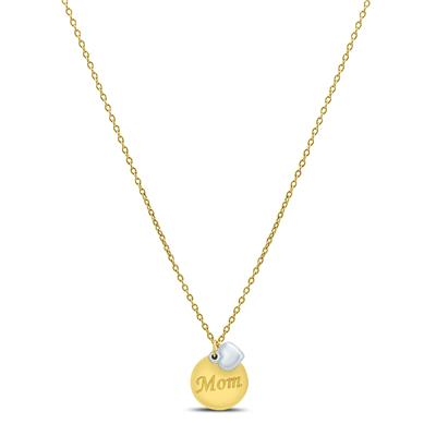Round Disc and Heart Charm MOM Necklace in 10K Yellow Gold and 10K White Gold