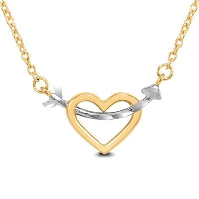 Heart and Arrow Necklace in 14K Yellow Gold with White Rhodium Plating