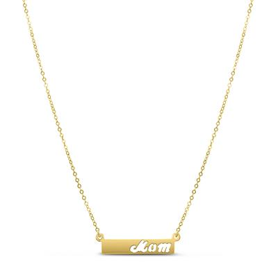 14K Yellow Gold MOM Bar Necklace
