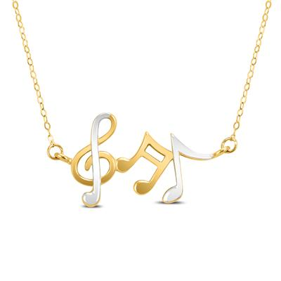 14K Yellow Gold Musical Notes Pendant