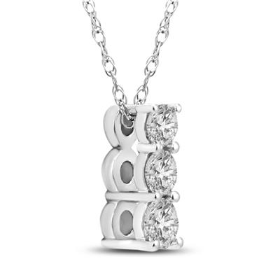 1/4 Carat TW Diamond Three Stone Pendant in 14K White Gold