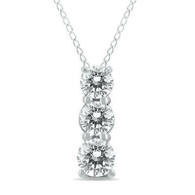 1/2 Carat TW Three Stone Diamond Pendant in 14K White Gold