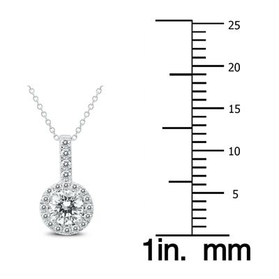 AGS Certified 1 Carat TW Halo Diamond Pendant in 14K White Gold