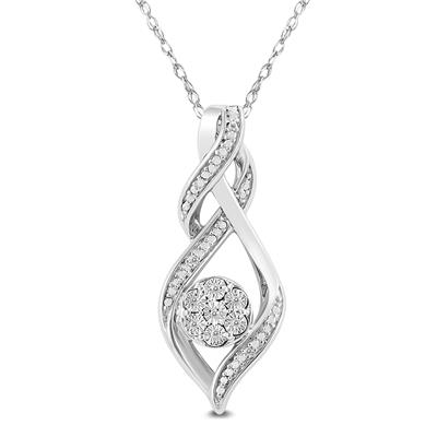 Diamond Cluster Love Knot Pendant in .925 Sterling Silver
