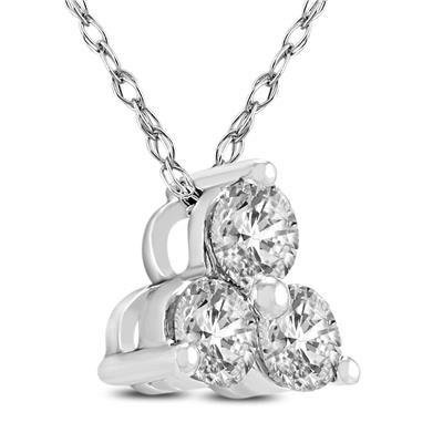 1/2 Carat TW Diamond Three Stone Pendant in 14K White Gold