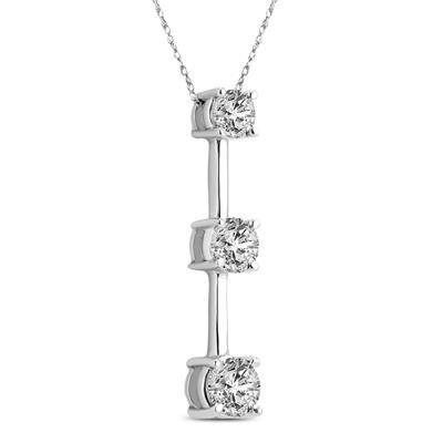 2 Carat TW Three Stone Diamond Drop Bar Pendant in 14K White Gold
