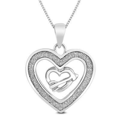 Shimmer Sparkle Heart and Arrow Heart Pendant in .925 Sterling Silver