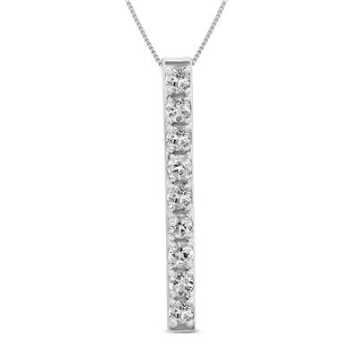 White Topaz Bar Pendant in .925 Sterling Silver