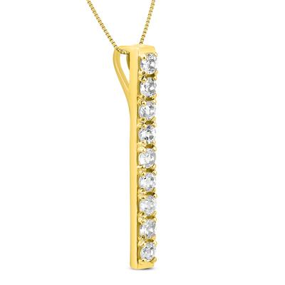 White Topaz Bar Pendant in Gold Plated .925 Sterling Silver