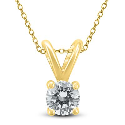 1/4 Carat (J-K Color, VS1-VS2 Clarity) AGS Certified Round Diamond Solitaire Pendant in 14K Yellow Gold