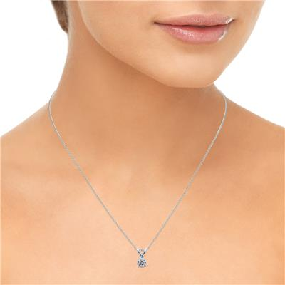 1/4 Carat (J-K Color, SI1-SI2 Clarity) AGS Certified Round Diamond Solitaire Pendant in 14K White Gold