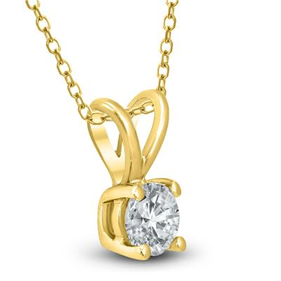 1/4 Carat (J-K Color, SI1-SI2 Clarity)AGS Certified Round Diamond Solitaire Pendant in 14K Yellow Gold