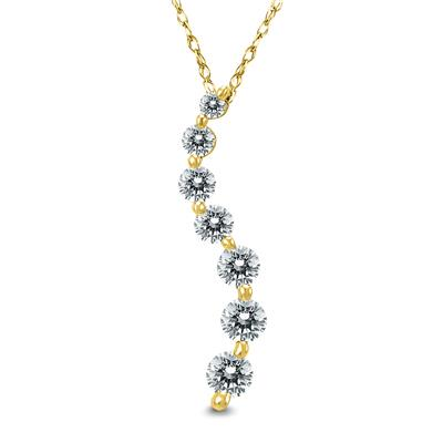 1/2 Carat Diamond Journey Pendant in 10K Yellow Gold (K-L Color, I2-I3 Clarity)