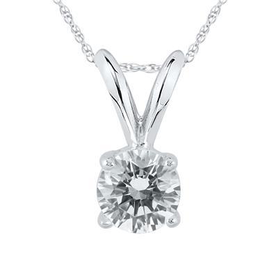 3/8 Carat Diamond Solitaire Pendant in 14K White Gold (L-M Color, I2-I3 Clarity)