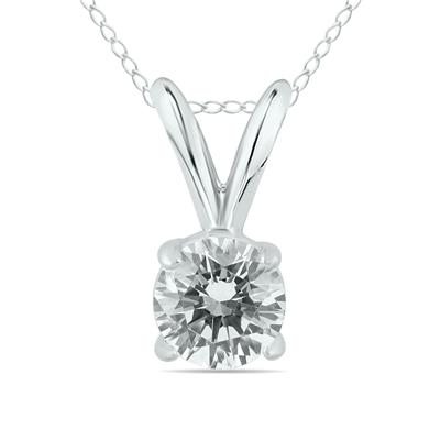 1/2 Carat Diamond Solitaire Pendant in 14K White Gold (L-M Color, I2-I3 Clarity)
