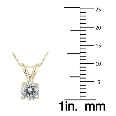 3/8 Carat (J-K Color, SI1-SI2 Clarity) AGS Certified Round Diamond Solitaire Pendant in 14K Yellow Gold