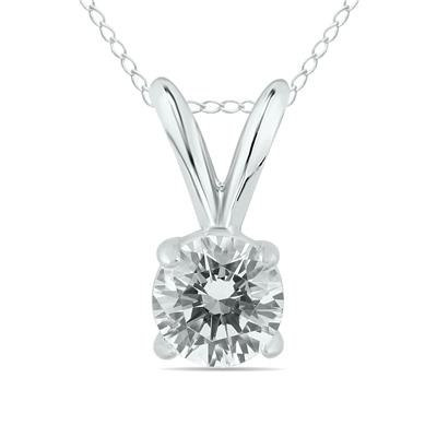 1/2 Carat (J-K Color, SI1-SI2 Clarity) AGS Certified Round Diamond Solitaire Pendant in 14K White Gold