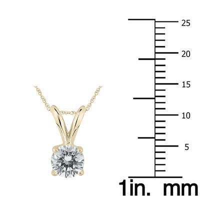 1/2 Carat (J-K Color, SI1-SI2 Clarity) AGS Certified Round Diamond Solitaire Pendant in 14K Yellow Gold