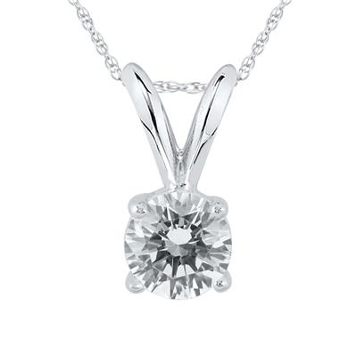 AGS Certified 14K White Gold 1/3 Carat Diamond Solitaire Pendant(H-I Color, SI1-SI2 Clarity)
