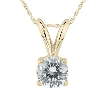 AGS Certified 14K Yellow Gold 1/3 Carat Diamond Solitaire Pendant(H-I Color, SI1-SI2 Clarity)