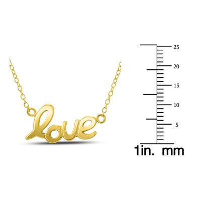 LOVE Necklace in Yellow Gold Plated Brass