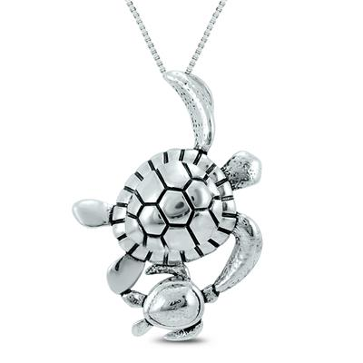 Mother and Baby Turtle Pendant in .925 Sterling Silver