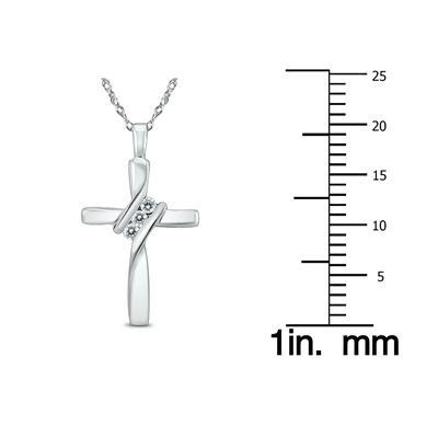 Three Stone Diamond Cross Pendant in 10K White Gold