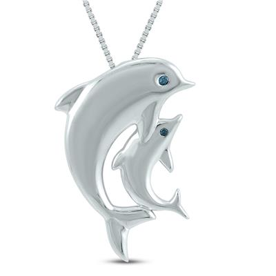 Genuine Blue Diamond mother and Baby Dolphin Pendant in .925 Sterling Silver