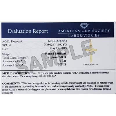 AGS Certified Three Stone Diamond Cross Pendant in 10K Yellow Gold