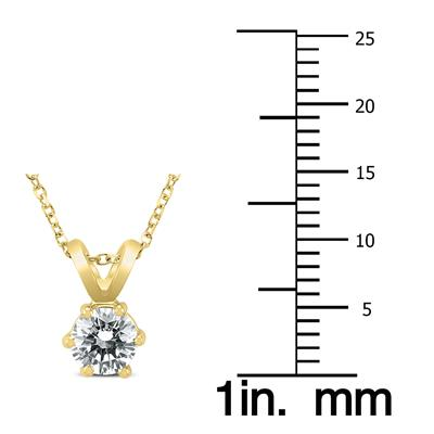 1/2 Carat 6 Prong Diamond Solitaire Pendant in 14K Yellow Gold