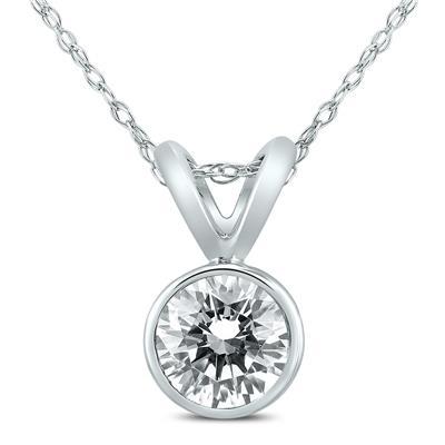 1/2 Carat Solitaire Diamond Bezel Pendant in 14K White Gold
