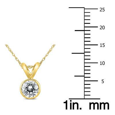 1/2 Carat Solitaire Diamond Bezel Pendant in 14K Yellow Gold