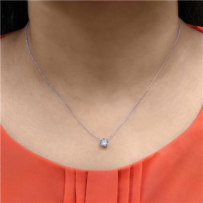 Signature Quality 1 Carat Floating Round Diamond Solitaire Necklace in 14K White Gold (F-G Color, I1-I2 Clarity)