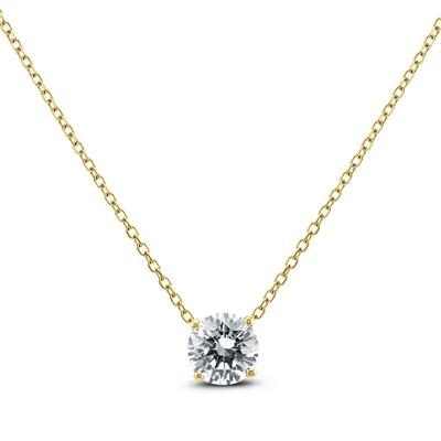 Signature Quality 1 Carat Floating Round Diamond Solitaire Necklace in 14K Yellow Gold (F-G Color, I1-I2 Clarity)