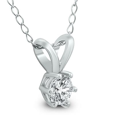 1/4 Carat 6 Prong Diamond Solitaire Pendant in 14K White Gold