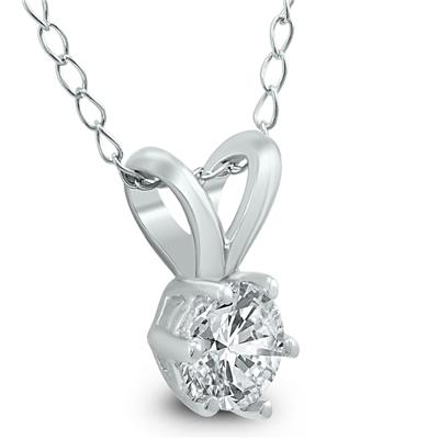1/3 Carat 6 Prong Diamond Solitaire Pendant in 14K White Gold