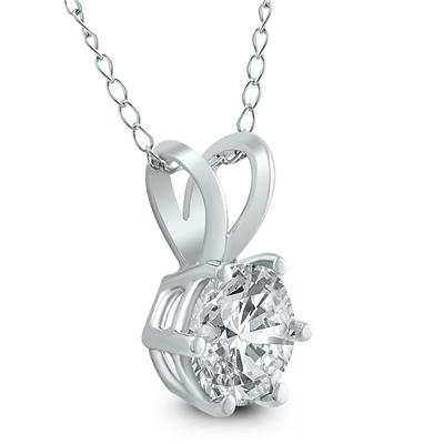AGS Certified 3/4 Carat 6 Prong Diamond Solitaire Pendant in 14K White Gold