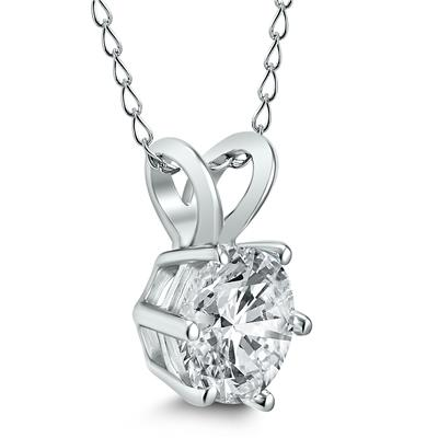 AGS Certified 1 Carat 6 Prong Diamond Solitaire Pendant in 14K White Gold