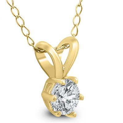 1/3 Carat 6 Prong Diamond Solitaire Pendant in 14K Yellow Gold