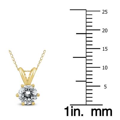 AGS Certified 3/4 Carat 6 Prong Diamond Solitaire Pendant in 14K Yellow Gold