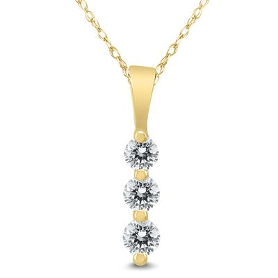 1/4 Carat TW Three Stone Diamond Pendant in 10K Yellow Gold