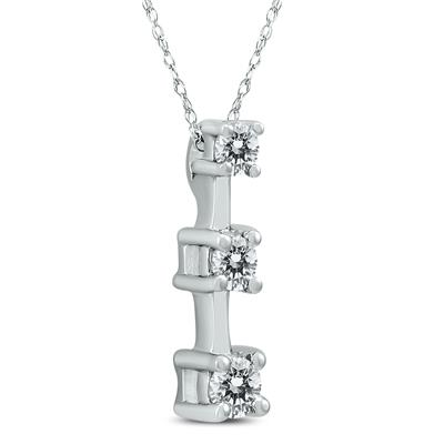 1/4 Carat TW Three Stone Diamond Pendant in 10K White Gold